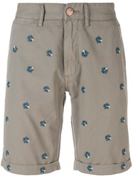 Sun 68 Floral Embroidered Bermuda Shorts Nude And Neutrals