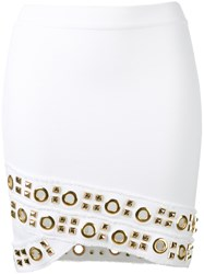 Alexandre Vauthier Studded Tube Skirt Women Cotton Spandex Elastane Brass 38 White
