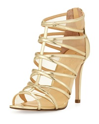 Ivanka Trump Derry Strappy Zip Back Mesh Inset Sandal Gold