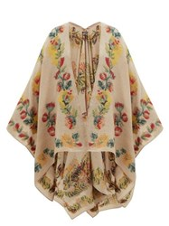 Etro Floral Embroidery Woven Cape Pink Multi