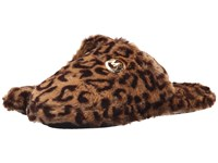 Michael Michael Kors Jet Set Mk Fur Cheetah Natural Faux Fur Women's Slippers Brown