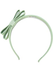 Red Valentino Double Bow Hairband Green