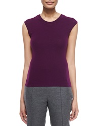 Escada Round Neck Fitted Tank Amethyst