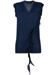 Dsquared2 Ruffle Detail Top Blue