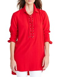 Lauren Ralph Lauren Lace Up Crepe Tunic Brilliant Red