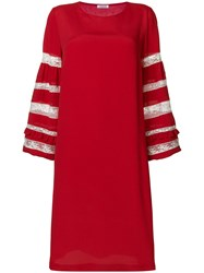P.A.R.O.S.H. Lace Sleeves Insert Dress Red