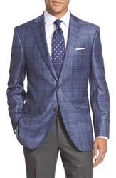 David Donahue Classic Fit Plaid Wool Sport Coat Blue