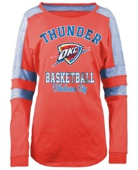 5Th And Ocean Women's Oklahoma City Thunder Space Dye Long Sleeve T Shirt Orange