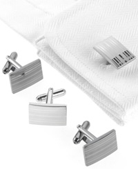 Geoffrey Beene Cufflinks Laser Stripes Boxed Set Nickel