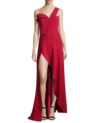 Brandon Maxwell One Shoulder High Slit Crepe Gown Red Black