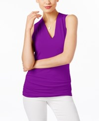 Inc International Concepts Ruched V Neck Top Only At Macy's Vivid Paisley