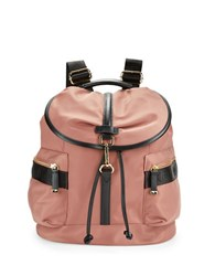 Calvin Klein Faux Leather Trimmed Nylon Backpack Deep Blush
