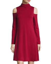 Neiman Marcus Cold Shoulder Mock Neck Dress Chianti