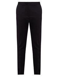 Bottega Veneta Mid Rise Straight Leg Stretch Wool Trousers Navy