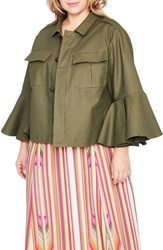 Rachel Roy Plus Size Women's Ruffle Sleeve Utility Jacket Army Green