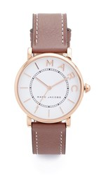 Marc Jacobs Roxy Leather Watch Rose Gold White Satin Cement