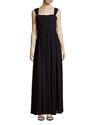 Vera Wang Sleeveless Solid Gown Navy