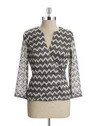 Cachet Chevron Wrap Top Gunmetal Multi