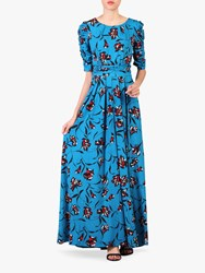 Jolie Moi Floral Print Ruched Sleeve Maxi Dress Blue