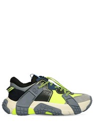 Valentino Vltn Wod Mesh And Suede Sneakers Grey