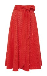Lisa Marie Fernandez High Waist Eyelet Beach Skirt Red