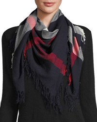 Burberry Color Check Wool Scarf Navy