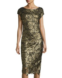 Label By 5Twelve Metallic Lace Overlay Midi Dress Gold