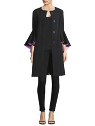 Milly Selena Ruffle Sleeve Coat Black Candy Pink
