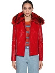 Marni Patent Leather Jacket W Fur Collar Red