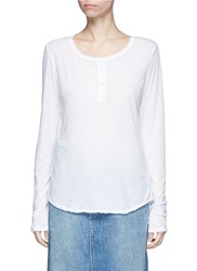 James Perse Cotton Jersey Henley Shirt White