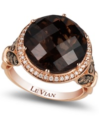 Le Vian Smokey Quartz 8 Ct. T.W. And Diamond 3 4 Ct. T.W. Ring In 14K Rose Gold