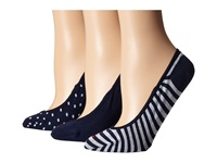 Sperry Stripes Dots Padded Sole Liner 3 Pack Navy Women's Crew Cut Socks Shoes