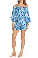 Lilly Pulitzer Calla Romper Twlight Blue Scale Up