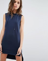 Noisy May High Low Sweat Dress With Side Zip Total Eclipse Navy