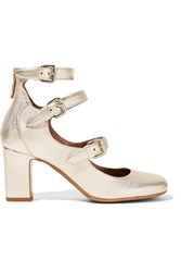 Tabitha Simmons Ginger Metallic Leather Pumps Gold