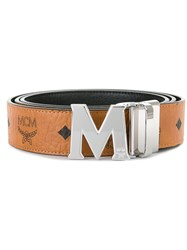 Mcm Logo Print Belt Nude And Neutrals