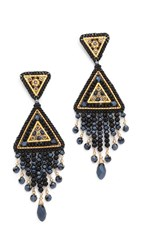 Miguel Ases Swarovski Chandelier Earrings Gold Black