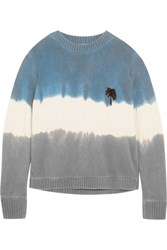 The Elder Statesman Embroidered Tie Dyed Cashmere Sweater Blue