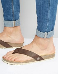 Original Penguin Toe Post Sandals Brown