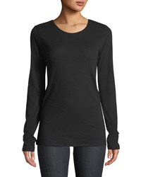 Majestic Cathy Crewneck Cotton Cashmere Top Black