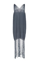 Caravana Tulum Rodi Long Fringe Hem Dress Blue
