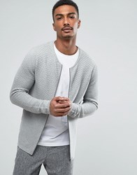 Selected Homme Zip Through Knitted Cardigan Gray