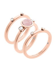 Michael Kors Easy Opulence Rose Quartz Stack Ring Set Rose Gold