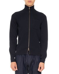 Dries Van Noten Nagano Knit Zip Front Sweater Navy