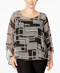 Alfani Plus Size Chiffon Angel Sleeve Blouse Only At Macy's Houndstooth