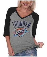 Gameday Couture Women's Oklahoma City Thunder Bling Rhinestone Raglan T Shirt Black Heather Gray