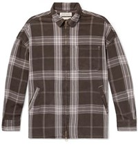 Remi Relief Checked Cotton Twill Zip Up Shirt Brown