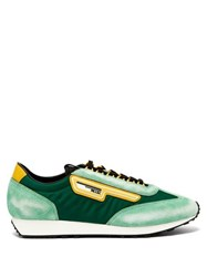 Prada Milano Suede And Nylon Low Top Trainers Green