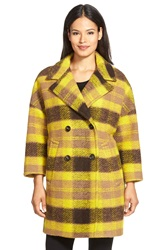 Pink Tartan Plaid Double Breasted Wool Blend Coat Camel
