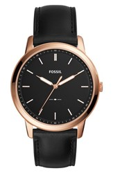 Fossil Men's Minimalist Leather Strap Watch 44Mm Black Rose Gold